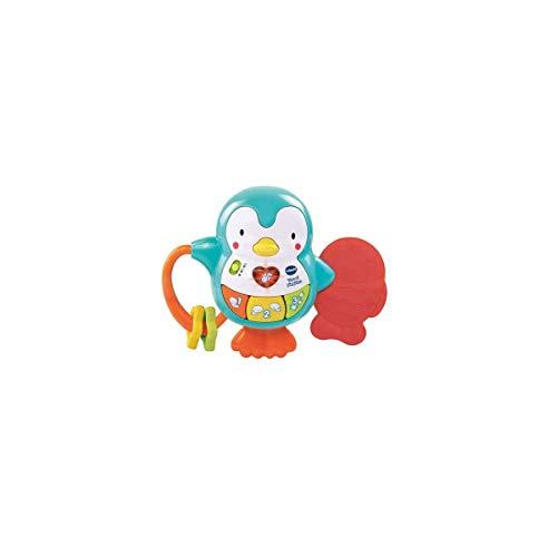 VTech - Tino el pingüino, Juguete para bebé, mordedor y sonajero interactivo con actividades para descubrir los animales, números, colores y divertidas canciones