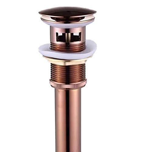 Messing Badezimmer Überlaufloch Pop-Up-Ablauf Mit Überlauf Für Waschbecken Waschtisch (Rote Bronze),Metallisch
