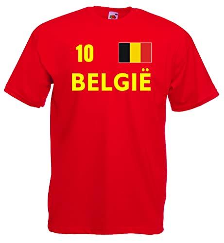 World-of-Shirt Herren T-Shirt Belgien Trikot Fan Shirt Nr.10|r-XXL