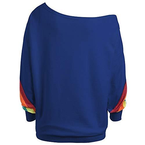 Mujeres Casual Suelta Manga Larga Con Estampado de Arco Iris Blusa Camisas Sudadera18-W0032 Sudadera Fina de Manga Larga Con Hombros descubiertos Y Estampado de Arcoíris Para Mujerfalso Dos Suéteres