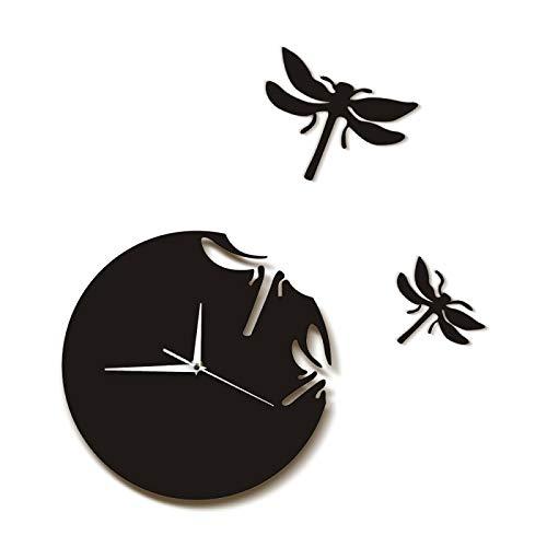xinxin Wanduhr Libellen Wanduhr Abstrakte Tiere 3D Libellen Hängende Wandkunst Libellen flogen Weg Natur Wohnkultur Brautjungfer Geschenk für Wohnzimmer Schlafzimmer Küche usw.