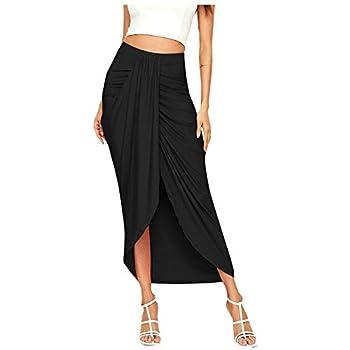 VBNG Women s Casual Slit Wrap Asymmetrical Elastic High Waist Maxi Draped Skirt Black