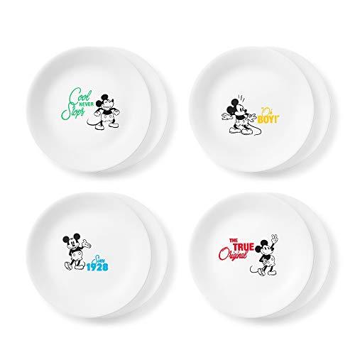 Corelle Disney Mickey Mouse-The True Original 8.5' Salad Lunch Plates, 8 Pack (Disney Mickey Mouse - The True Original)