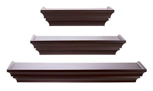 Kiera Grace Traditional floating-shelves, Set of 3, Espresso
