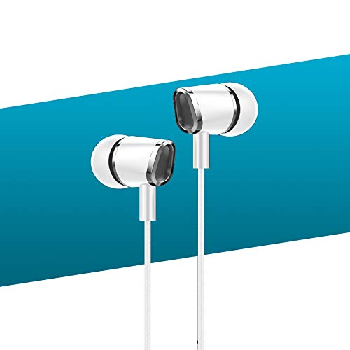 Smazing® Dvao Earbuds in Ear Headphones with Microphone Sports Headphones Super Bass for Apple & Android Phone (S40 3rd Gen White)