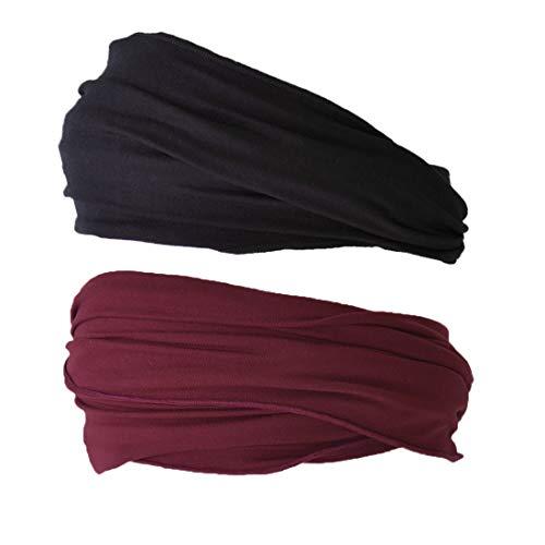 Casualbox Stirnband Sport Haarband Herren - Bandana Damen Sommer Japanisch lang Schwarz Weinrot 2-Pack