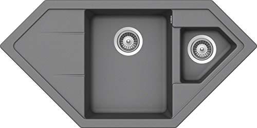 SCHOCK Eck-Küchenspüle 100 x 50 cm Primus C-150 Croma - CRISTALITE hellgraue Granitspüle mit 1 ½ Becken ab 90 cm Unterschrank-Breite