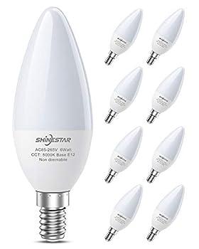 SHINESTAR 8-Pack Bright LED Ceiling Fan Light Bulbs 60 Watt Equivalent Daylight 5000K E12 Candelabra Base Chandelier Light Bulb Non-dimmable