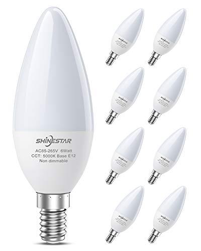 SHINESTAR 8-Pack Bright LED Ceiling Fan Light Bulbs, 60 Watt Equivalent, Daylight 5000K, E12 Candelabra Base, Chandelier Light Bulb, Non-dimmable