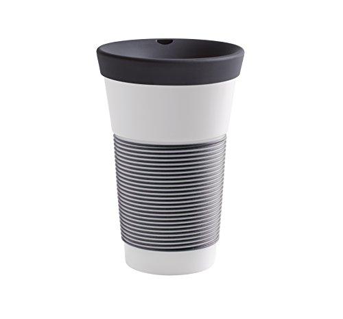 Kahla cupit Becher 0,47 l mit Trinkdeckel in anthrazit, Coffee to Go Mug aus Porzellan mit innovativer Magic Grip Beschichtung, Pro Öko, 10 x 6 x 16.7 cm