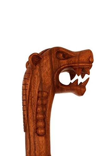 Madera–Varilla con dragón Vikingo, aprox. 130cm de largo Senderismo (Senderismo Bastón Bastón peregrino Stock Real Madera LARP Vikingo