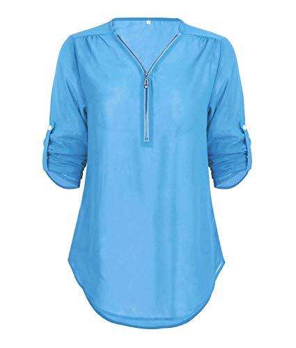 Las Señoras del Otoño Blusa De Color Sólido Largo Escote Camisa Vintage V Elegante Asimétrico Mancuerna Tops Camiseta Suelta Acogedor (Color : Blau, Size : 2XL)