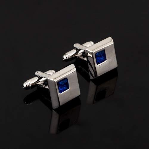 jiao Fashion Square blau Kristall Manschettenknopf für Herren Shirt Markenanzug Manschettenknöpfe Manschettenknöpfe Schmuck