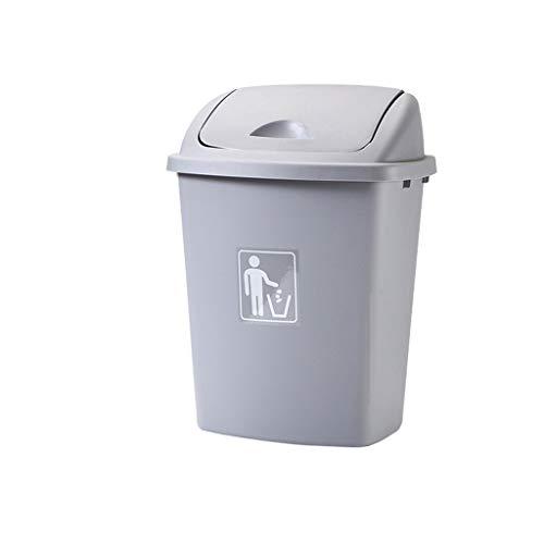 Garbage tribe Haushalt Abfalleimer, mit Deckel mit hohen Kapazität Badezimmer Wasserdichtes Abfalleimer aus Kunststoff Multi-Color Mülltonne verdicken (Color : Gray, Size : 65L)