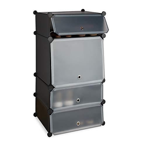 Relaxdays, schwarz Schuhregal Kunststoff, Regalsystem 4 Fächer, Steckregal, mit Türen, für 8 Paar, HBT 91 x 49 x 36,5 cm, Standard