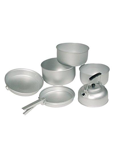 Mil-Tec Lot de 3 casseroles en Aluminium avec théière, 20,5 x 10,5 cm/19 x 8,5 cm/17 x 8,5 cm