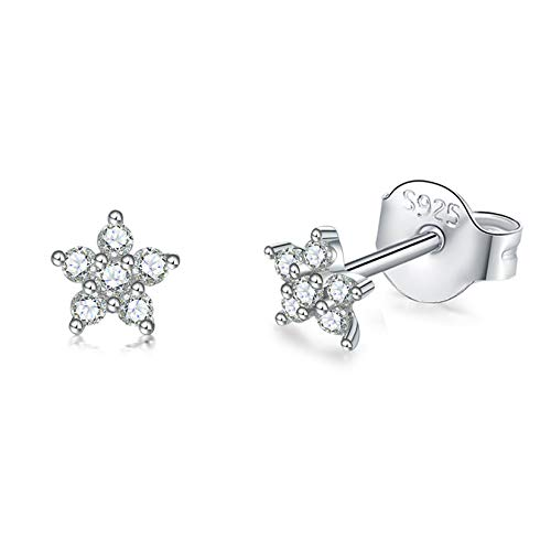 Sterling Silver Stud Earrings for Women, Tiny Flower Earrings Set | Small Cubic Zirconia Helix Earrings Dainty Tragus Cartilage Studs Cherry Blossom Ear Piercing Jewelry Gifts for Girls Teens
