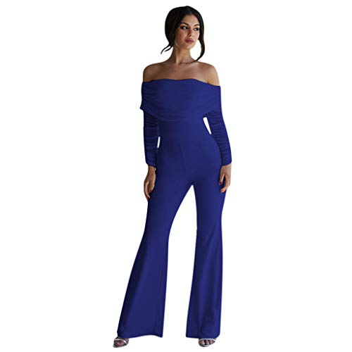 Jumpsuit Ulanda-EU Damen Elegant Schulterfrei Langarm Lange Overall Hohe Taille Weitem Bein Langhose Einteiler Hosenanzug Party Abendmode Outfit Bodysuit