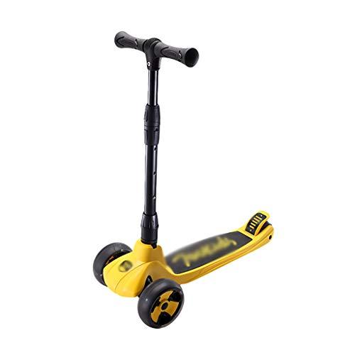 Patinete Light Up Scooter Wheels Ajustable Altura Kick Scooter para Niños Edades 3-12 Freno de La Rueda Trasera Lean para Dirigir (Color : Yellow)