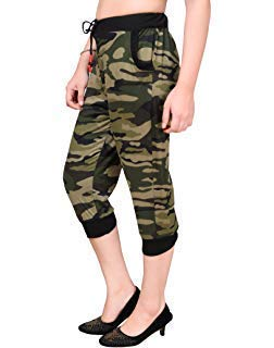 DELHITRADERSS® Women's/Girl's Cotton Army Military Capri Pant(Size-S)