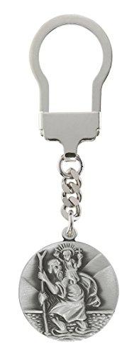 Schlüsselanhänger Hl. St. Christophorus 3 cm, gesegnet und geweiht, hochwertigst versilbert