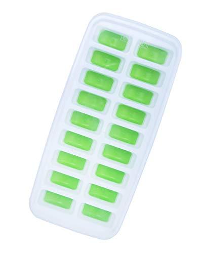 YJJY Ice tray, Ice Cube Trays Silicone BPA vrije mallen met anti-pil deksel, DIY ijskast Beste voor vriezer, Baby Food, Water, Whiskey, Cocktail en andere dranken, Groen/blauw[18 rooster]