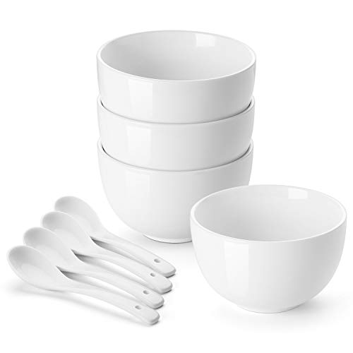 DOWAN Deep Soup Bowls with Spoons, 30 Ounces Porcelain Cereal Bowls, Portion Bowls for Oatmeal, Chili, Salad, Ramen, Frozen Pasta, Quick Box Meals, Goldie Locks Weight, Set of 4, White