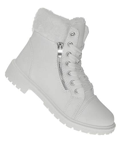 Bootsland 627 Winterstiefel Damenstiefel Winterschuhe Damen Snow White, Schuhgröße:40