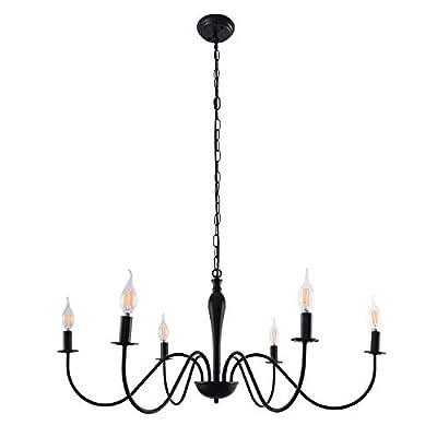 Vintage Chandelier 6 Lights Classic Candle Ceiling Light Iron Pendant Lighting Fixture, Black