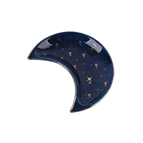 JAWSEU Bandeja de plato de anillo de joyería de cerámica,Bandeja de joyas Estrellas y luna,organizador y soporte exhibición,Plato de Anillo Soporte para Joyería Bandeja para Anillos Brazaletes Aretes.
