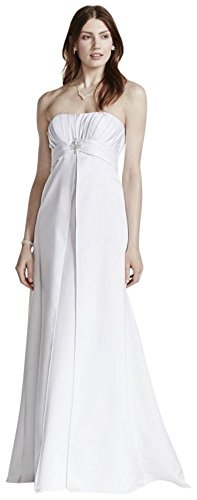 David's Bridal Strapless Satin Gown with Pleated Bodice Style OP1223, White, 8