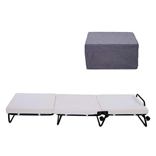 HOMCOM Portable Folding Bed, Single Guest Bed Convertible Sleeper Ottoman with Mattress for Bedroom & Office, Grey