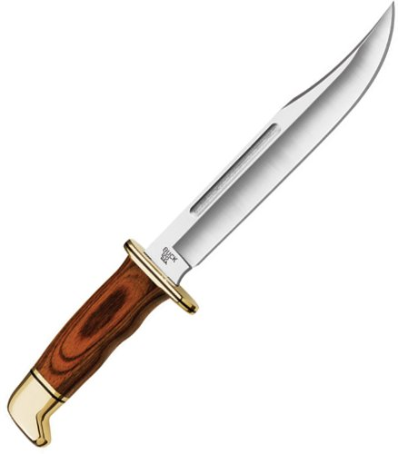 Buck Messer General, Stahl 420HC, Cocobolo-Holz Griff, Messingbeschläge, braune Lederscheide