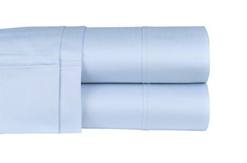 "Threadmill Home Linen 400 Thread Count 100% Extra-Long Staple Cotton Sheets, 4 Piece Queen Sheet Set, Fits Mattresses up to 18"" deep Pocket, Luxury Bedding, Smooth Sateen, Blue"