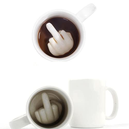 AHTOSKA Taza de cerámica Divertida Creativa, Taza de café del Dedo Medio, ¡Ve a engañar a Tus Amigos! Taza Divertida de Jugo de Leche, té, café