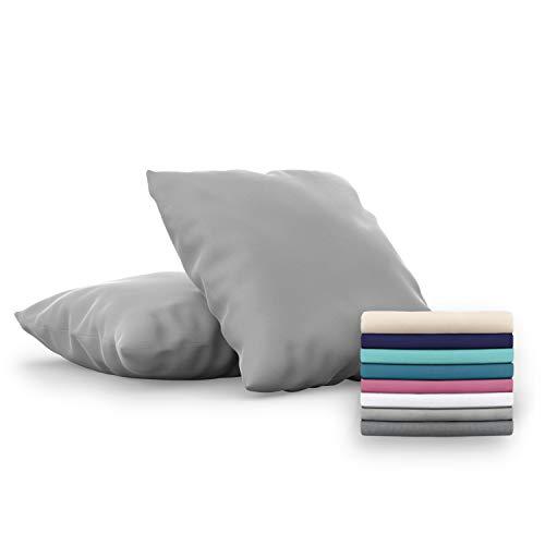 Dreamzie - Set di 2 x Federe Letto per Cuscino 80x80 cm, Grigrio Antracite, Microfibra (100% Poliestere) - Federa Cuscini Letto qualità Confortevole Ipoallergenica