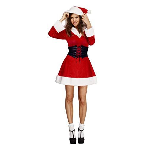 NET TOYS Kurzes Weihnachtsfrau Kostüm | Rot-Weiß in Größe M (38/40) | Außergewöhnliche Damen-Verkleidung Miss Santa geeignet für Weihnachten & Weihnachtsfeier