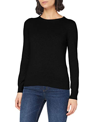 Amazon-Marke: MERAKI Baumwoll-Pullover Damen mit Rundhals, Schwarz (Black), 42, Label: XL