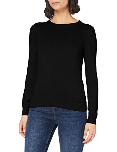 Marchio Amazon - MERAKI Pullover Cotone Donna Girocollo, Nero (Black), 44, Label: M