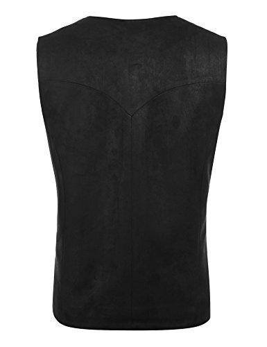 COOFANDY Men's Suede Leather Suit Vest Casual Western Vest Jacket Slim Fit Vest Waistcoat 5