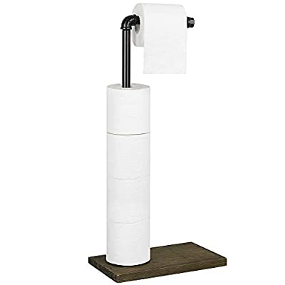 LIANTRAL Toilet Paper Holder Stand - Rustic Free Standing Toilet Paper Dispenser Holder, Industrial Cast Iron Pipe with Solid Wooden Base, Black