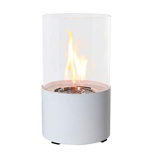 YITIE Tabletop Alcohol Fireplace, Modern Mini Round Fireplace,2500BTU, Ventless Portable Patio Fire Pit Table - for Patio/Dining Table/Club/Bar/Kitchen (Silver/White/Black)