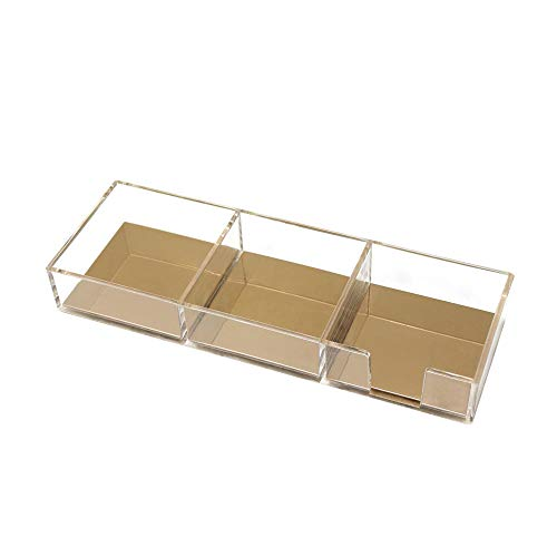 Acrylic Gold Sticky Notes Holder for Desk Memo Pads Dispenser Notepads Holder 3 Compartments Paper Binder Clips Tray Holder Home Office Desk Organizer Clear Gold