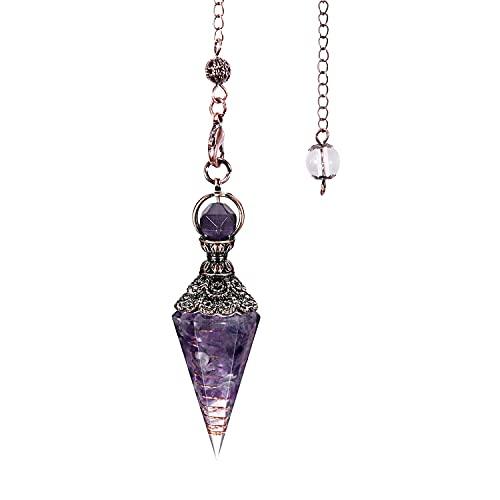 TOFBS Chakras piedras preciosas péndulo de cristal esoterismo radiestesia con cadena hexagonal...