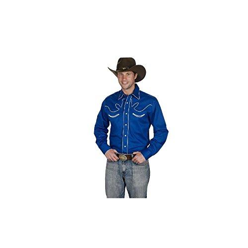 Sunrise Outlet Men's 100% Cotton Retro Western Cowboy Shirt-Royal Blue-3XL
