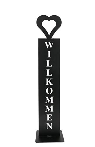 """tradeNX \""""Herzlich Willkommen-Ständer schwarz – Dekoratives Schild für den Hauseingang & Garten beschichtet"""