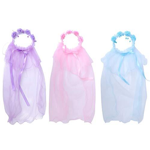 Lurrose - 3 Coronas de Flores con Velo, Corona de Flores, Cinta para la Frente, decoración para el Pelo de Boda (Rosa + Azul + Lila)