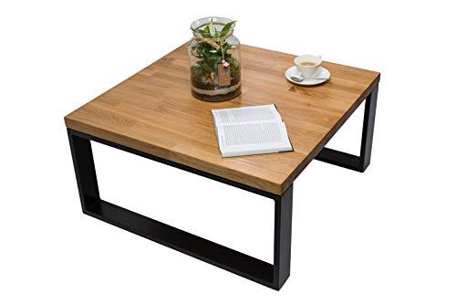 Mex Couchtisch Holz, Tisch Wohnzimmer, Kaffeetisch, Couchtisch aus Eichenholz, Handgefertigte Wohnzimmertische - Stahlprofile, Tischplatte aus Holz (80 x 80 x 40 cm)