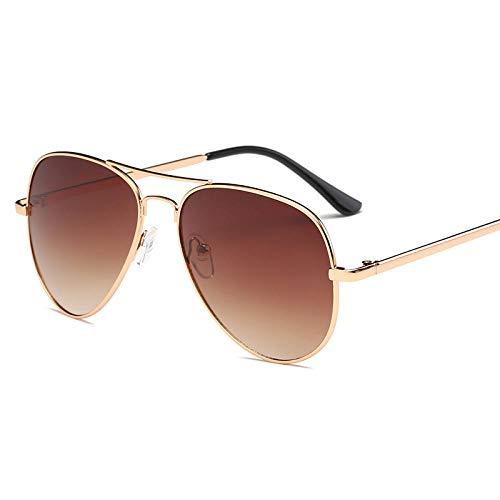 YHKF Gafas De Sol para Mujer Gafas Retro Gafas De Sol Estilo Piloto para Mujer-Gold_Brown