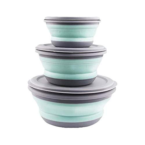 Leikance Faltbares Schüssel-Set, tragbare Silikon-Küchen-Geschirr-Behälter für Reisen, Outdoor, Camping, 3 Stück